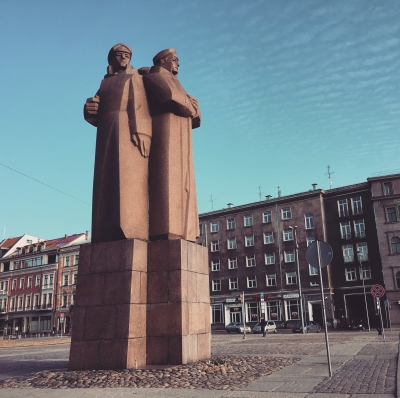 Soviet era monument for the Latvian Riflemen, Riga